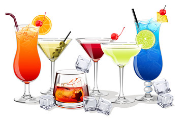 Set of alcohol and fruit cocktails and drinks vector illustration
