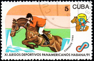UKRAINE - CIRCA 2017: A postage stamp printed in Cuba shows Equestrian from series 11th Pan American Games, circa 1990