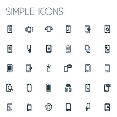 Vector Illustration Set Of Simple Smartphone Icons. Elements Incoming Calls, Virus, Outbound Signal And Other Synonyms Linkage, Settings And Touch.