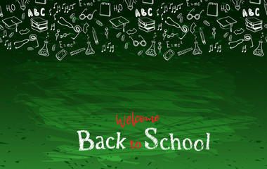 Seamless border with school elements. Back to school.