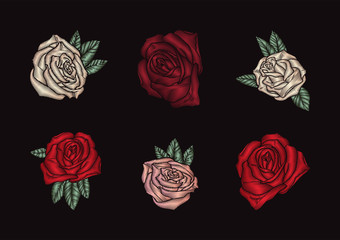 Roses embroidery on black background.