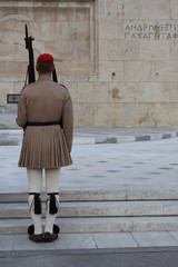 Evzoni guard in front of the Greek parliament, Athens