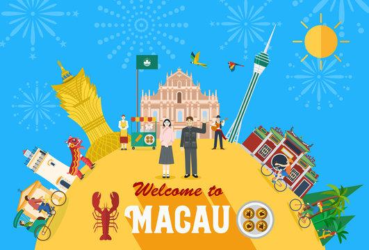 Illustration of Macau landmark and icons, Vector