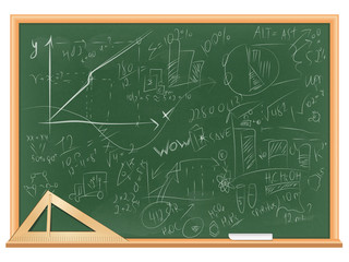 vector illustration of green blackboard in wooden frame. triangular ruler and chalk are on the shelf. lettering by hand graphs, charts and formulas