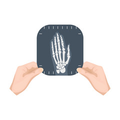 X-ray picture of the hand of a person in the hands of a radiologist. Medicine single icon in cartoon style vector symbol stock illustration web.