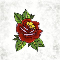Traditional tattoo rose design. Cartoon illustration, hand drawn style.