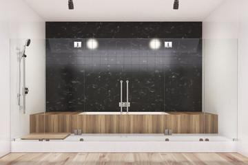 Black bathroom interior, wooden tub, shower