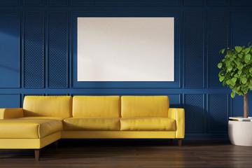 Blue wall, yellow sofa, poster