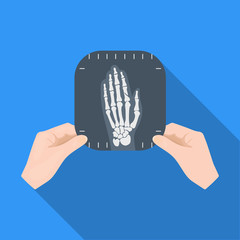 X-ray picture of the hand of a person in the hands of a radiologist. Medicine single icon in flat style vector symbol stock illustration web.