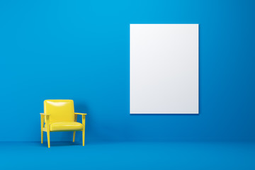 Blue room, yellow armchair, poster