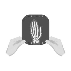 X-ray picture of the hand of a person in the hands of a radiologist. Medicine single icon in monochrome style vector symbol stock illustration web.