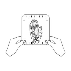 X-ray picture of the hand of a person in the hands of a radiologist. Medicine single icon in outline style vector symbol stock illustration web.