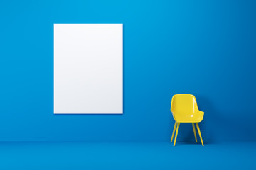 Blue room, yellow chair, poster