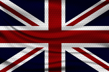 National flag of Great Britain on wavy fabric with a volumetric pattern of hexagons. Vector illustration.