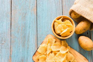 Crispy potato chips, potato