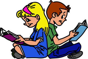 Children are sitting and reading books