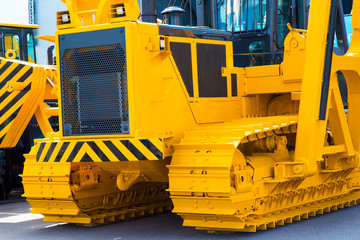 Close up shot of a caterpillar bulldozer.