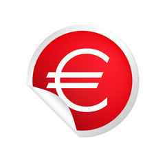 runder Sticker rot Euro