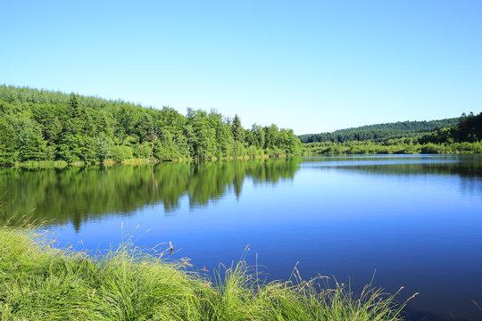 Idyllic Lake Saint-Agnan in the Parc Naturel Regional de Morvan in Burgundy, France