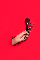 Woman holding brushes for makeup