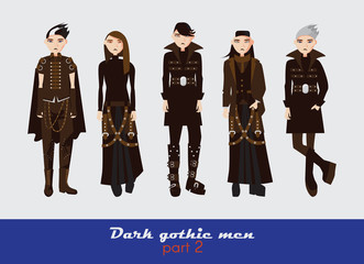 Vector set with dark gothic young men. Guys standing and watching at spectator. Dark clothes in goth style isolated on background.