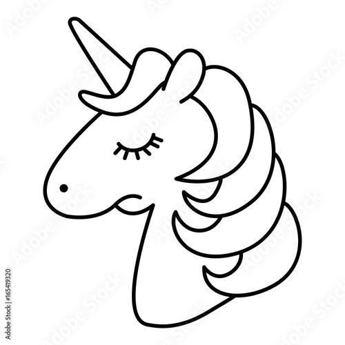 quot Unicorn Head Sad Cartoon Line