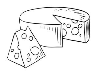 Cartoon image of cheese. An artistic freehand picture.
