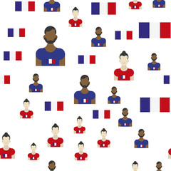 French seamless pattern with Flag and people. Flat vector illustration EPS 10