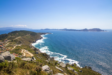 Views of Cabo Home and the Cies Islands from Monte do Facho in Cangas, Galicia, Spain