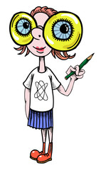 Cartoon image of geeky girl. An artistic freehand picture.