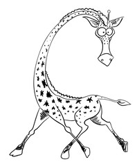 Cartoon image of giraffe. An artistic freehand picture.