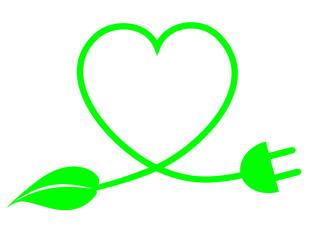 énergie renouvelable cœur prise électrique