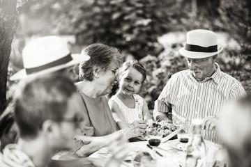 Multi-generation family having lunch in the garden