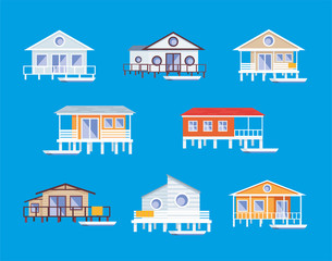 Small lodge on piles. Vector clip arts set.