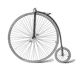 Photo sur Aluminium Old high wheel bicycle / vintage illustration