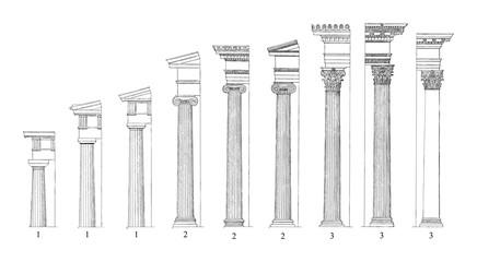 1. Doric 2. Ionic 3. Corinthian columns - vintage illustration