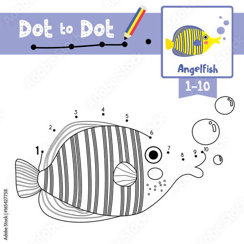 Dot To Educational Game And Coloring Book Of Angelfish Animals For Preschool Kids Activity Learning Number Worksheet Vector Illustration
