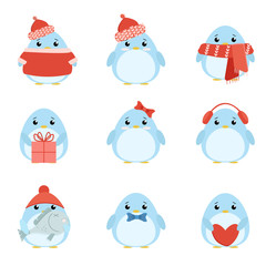 Vector set penguins in warm clothes with different subjects: fish, cap, scarf, gift, heart, bow. Cartoon cute illustration
