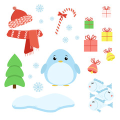 Vector set of penguin with xmas staff: lollipop, gifts, tree, iceberg, cap and scarf, fish and bells. Cartoon illustration