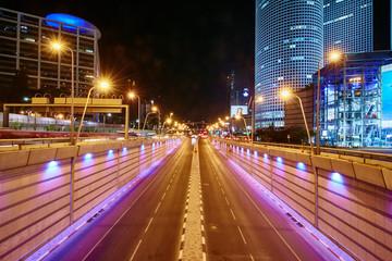 Tel Aviv - 20.04.2017:  Tel aviv Azrieli center and transportation hi-way