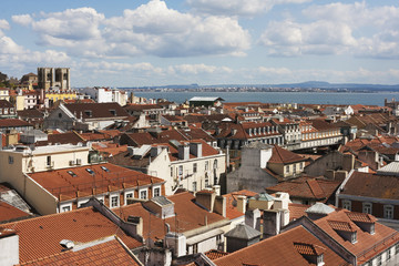 Over red roofs of Lisbon