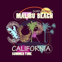 Surf t shirt art. Surfing California Malibu beach fashion typography for t-shirt print