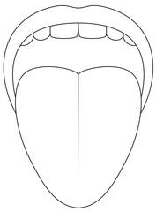 Tongue symbol - outline icon illustration on white background.