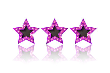 Three gold pink stars on white background