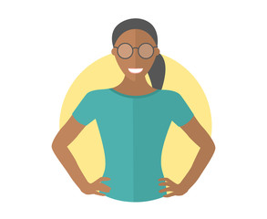 Confident black pretty girl in glasses. Flat design icon. Resolute woman with arms akimbo. Simply editable isolated vector illustration