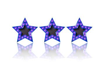 Three gold blue stars on white background