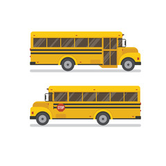 Two school bus side views.