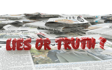lies or truth 3d illustration above newspaper