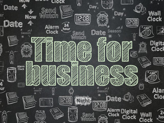 Timeline concept: Time for Business on School board background