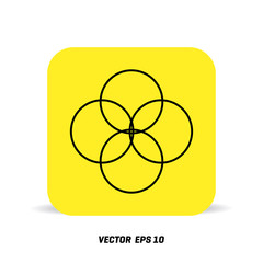 nterlocking circles, rings abstract icon. Connection concept icon
